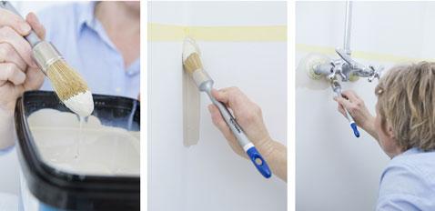 Comience pintando los ángulos y contornos del grifo del baño.