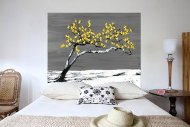 Cabecero en tejido de lino algodón metis Renaissance Yellow patrón tamaño: 160x140 cm Mademoiselle Tiss