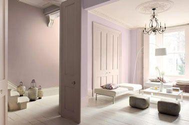 Ambiente delicado en el salón alrededor de una decoración rosa y marfil.  En las paredes, una pintura rosa polvo Ref: Sutil <ciruela y Ivoirine Astral.  Sofás y suelo a juego en blanco roto