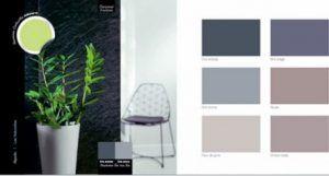 para la decoración de una sala de estar, un dormitorio o una entrada, armonía de colores y pintura gris, taupe para asociar con un verde anís para el contraste en la alfombra, un jarrón o cortinas de la carta de colores de pintura Ripolin