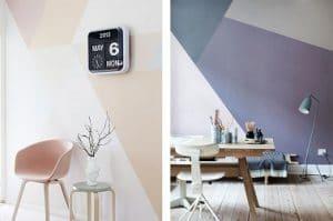 En una sala de estar, una oficina o un dormitorio, la pintura decorativa de formas geométricas se adapta a todas partes.  Todo lo que necesitas es cinta adhesiva y listo.