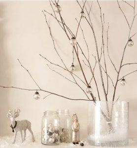 Una decoración navideña fácil de hacer con unas pequeñas ramas de árbol y bolas transparentes para decorar la chimenea.