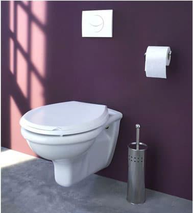 WC en baño.  inodoro suspendido y placa de descarga blanca, pintura de pared de ciruela, piso de concreto gris pastel