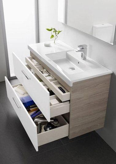 ¡En el baño, instalar un mueble lavabo moderno y ergonómico es práctico para ahorrar espacio!  Pequeños cajones de almacenamiento para guardar artículos de tocador y toallas