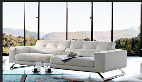 Sofá contemporáneo de 3 plazas de cuero blanco Opinion en Roche Bobois