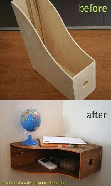 La forma del revistero de madera se presta muy bien a convertirse en un estante de esquina en la entrada para guardar llaves, teléfonos y baratijas decorativas.