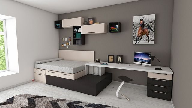 cama de plataforma almacenamiento de dormitorio pequeño