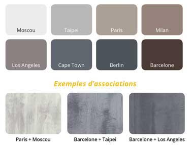 Carta de colores de pintura efecto cemento disponible en 9 tonos de gris, topo, marrón y blanco para una decoración industrial en paredes y suelos.  Loft Pintura original por DNI