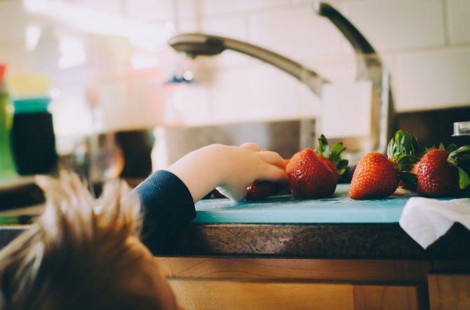 Fregadero con fresas