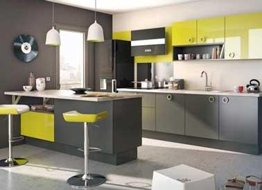 """Pop busca la cocina gris con verde anís brillante.  En las fachadas de los muebles y los taburetes de la barra en notas picantes.  Comida """"Giro"""" por Lapeyre"""